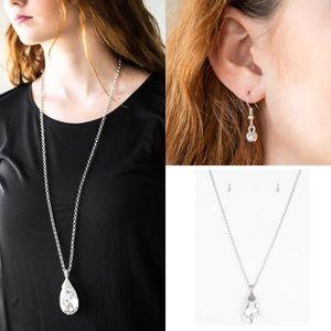 Jewelry - Long Jewel Teardrop Necklace Earring Jewelry Set